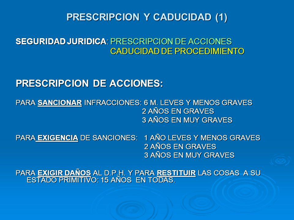 PRESCRIPCION Y CADUCIDAD (1) SEGURIDAD JURIDICA: PRESCRIPCION DE ACCIONES CADUCIDAD DE PROCEDIMIENTO CADUCIDAD DE PROCEDIMIENTO PRESCRIPCION DE ACCION