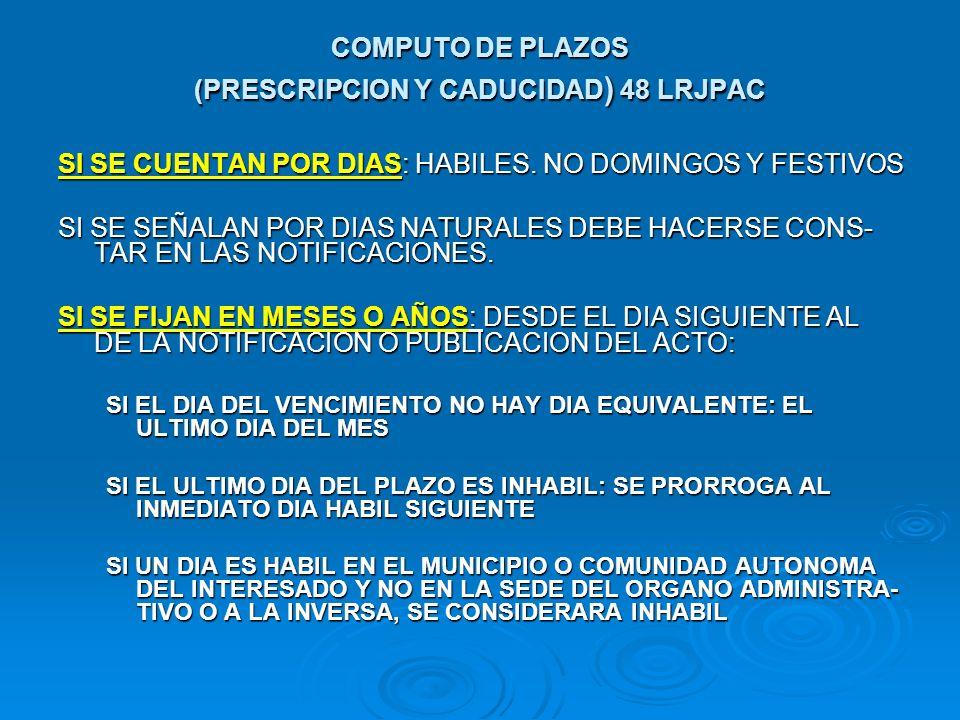 COMPUTO DE PLAZOS (PRESCRIPCION Y CADUCIDAD ) 48 LRJPAC SI SE CUENTAN POR DIAS: HABILES. NO DOMINGOS Y FESTIVOS SI SE SEÑALAN POR DIAS NATURALES DEBE