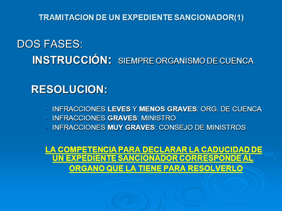 TRAMITACION DE UN EXPEDIENTE SANCIONADOR(1) DOS FASES: INSTRUCCIÓN : SIEMPRE ORGANISMO DE CUENCA INSTRUCCIÓN : SIEMPRE ORGANISMO DE CUENCARESOLUCION: