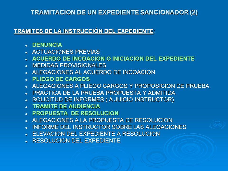 TRAMITACION DE UN EXPEDIENTE SANCIONADOR (2) TRAMITES DE LA INSTRUCCIÓN DEL EXPEDIENTE: DENUNCIA DENUNCIA ACTUACIONES PREVIAS ACTUACIONES PREVIAS ACUE