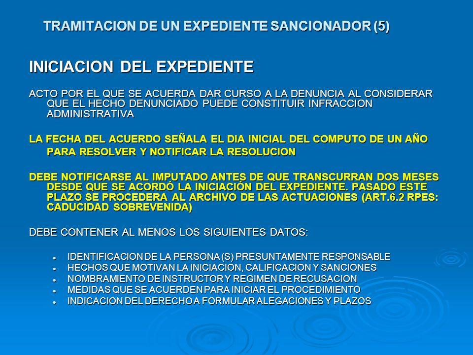 TRAMITACION DE UN EXPEDIENTE SANCIONADOR (5) INICIACION DEL EXPEDIENTE ACTO POR EL QUE SE ACUERDA DAR CURSO A LA DENUNCIA AL CONSIDERAR QUE EL HECHO D