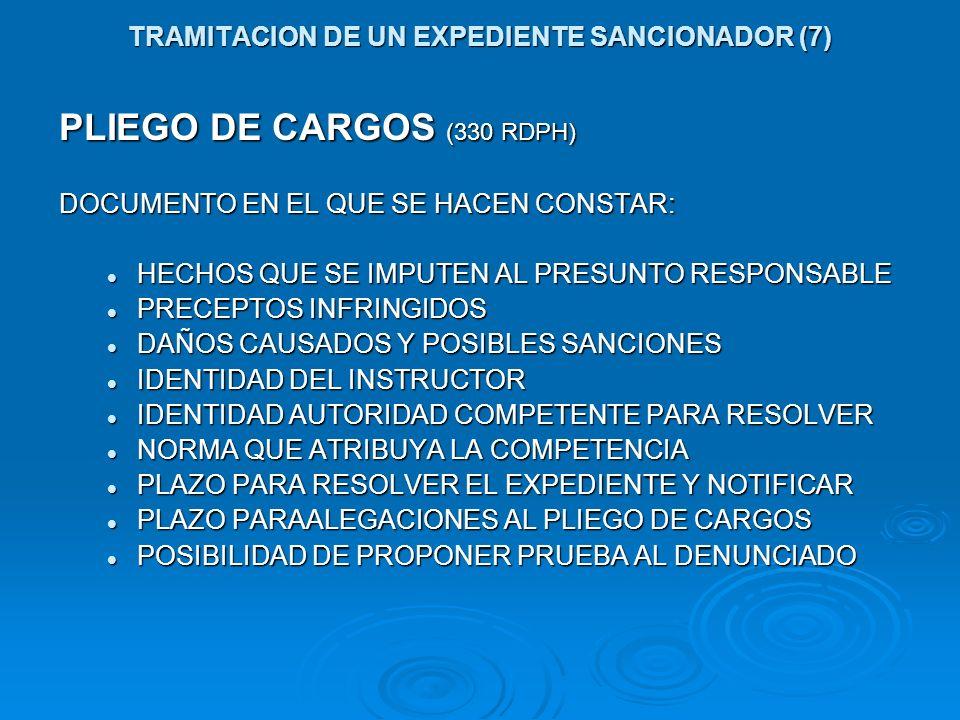 TRAMITACION DE UN EXPEDIENTE SANCIONADOR (7) PLIEGO DE CARGOS (330 RDPH) DOCUMENTO EN EL QUE SE HACEN CONSTAR: HECHOS QUE SE IMPUTEN AL PRESUNTO RESPO