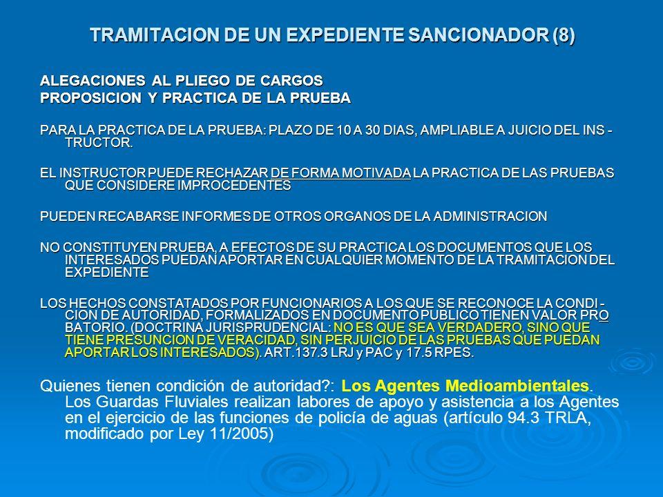 TRAMITACION DE UN EXPEDIENTE SANCIONADOR (8) ALEGACIONES AL PLIEGO DE CARGOS PROPOSICION Y PRACTICA DE LA PRUEBA PARA LA PRACTICA DE LA PRUEBA: PLAZO