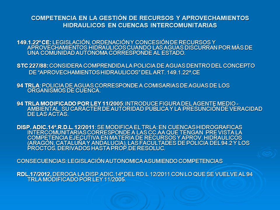 COMPETENCIA EN LA GESTIÓN DE RECURSOS Y APROVECHAMIENTOS HIDRAULICOS EN CUENCAS INTERCOMUNITARIAS 149.1.22ª CE: LEGISLACIÓN, ORDENACIÓN Y CONCESIÓN DE