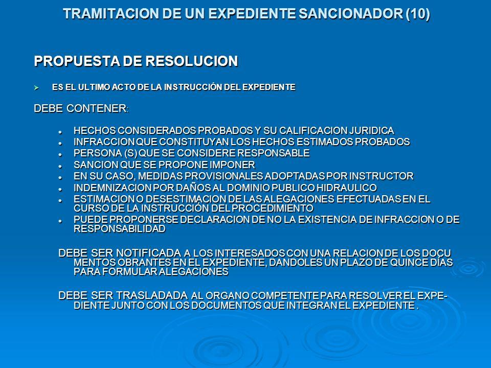 TRAMITACION DE UN EXPEDIENTE SANCIONADOR (10) PROPUESTA DE RESOLUCION ES EL ULTIMO ACTO DE LA INSTRUCCIÓN DEL EXPEDIENTE ES EL ULTIMO ACTO DE LA INSTR