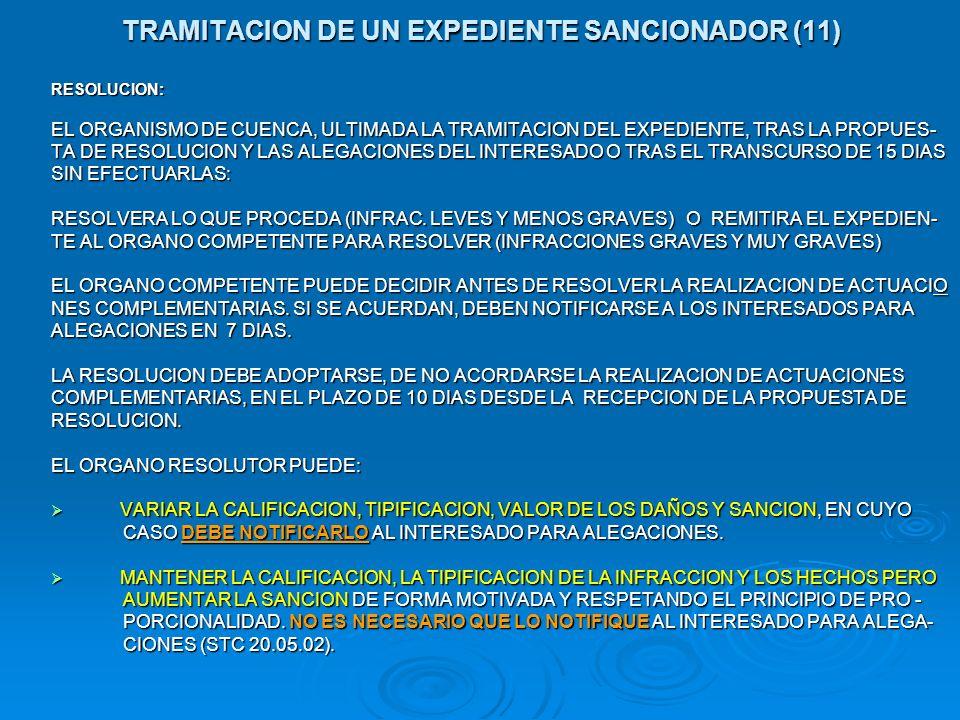 TRAMITACION DE UN EXPEDIENTE SANCIONADOR (11) RESOLUCION: EL ORGANISMO DE CUENCA, ULTIMADA LA TRAMITACION DEL EXPEDIENTE, TRAS LA PROPUES- TA DE RESOL