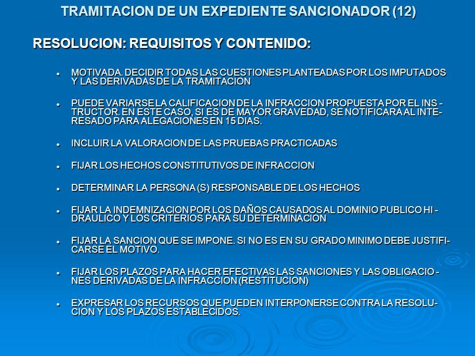 TRAMITACION DE UN EXPEDIENTE SANCIONADOR (12) RESOLUCION: REQUISITOS Y CONTENIDO: MOTIVADA. DECIDIR TODAS LAS CUESTIONES PLANTEADAS POR LOS IMPUTADOS