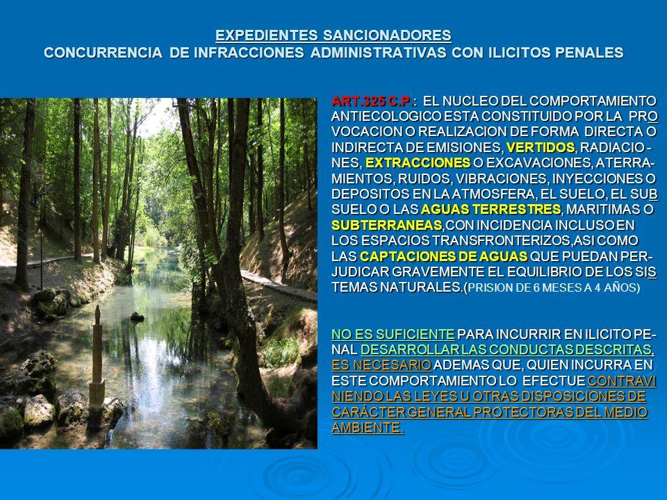 EXPEDIENTES SANCIONADORES CONCURRENCIA DE INFRACCIONES ADMINISTRATIVAS CON ILICITOS PENALES ART.325 C.P.: EL NUCLEO DEL COMPORTAMIENTO ART.325 C.P.: E