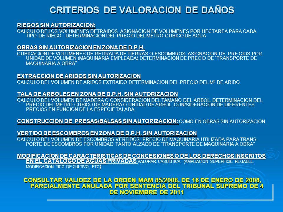 CRITERIOS DE VALORACION DE DAÑOS RIEGOS SIN AUTORIZACION: CALCULO DE LOS VOLUMENES DETRAIDOS.ASIGNACION DE VOLUMENES POR HECTAREA PARA CADA TIPO DE RI