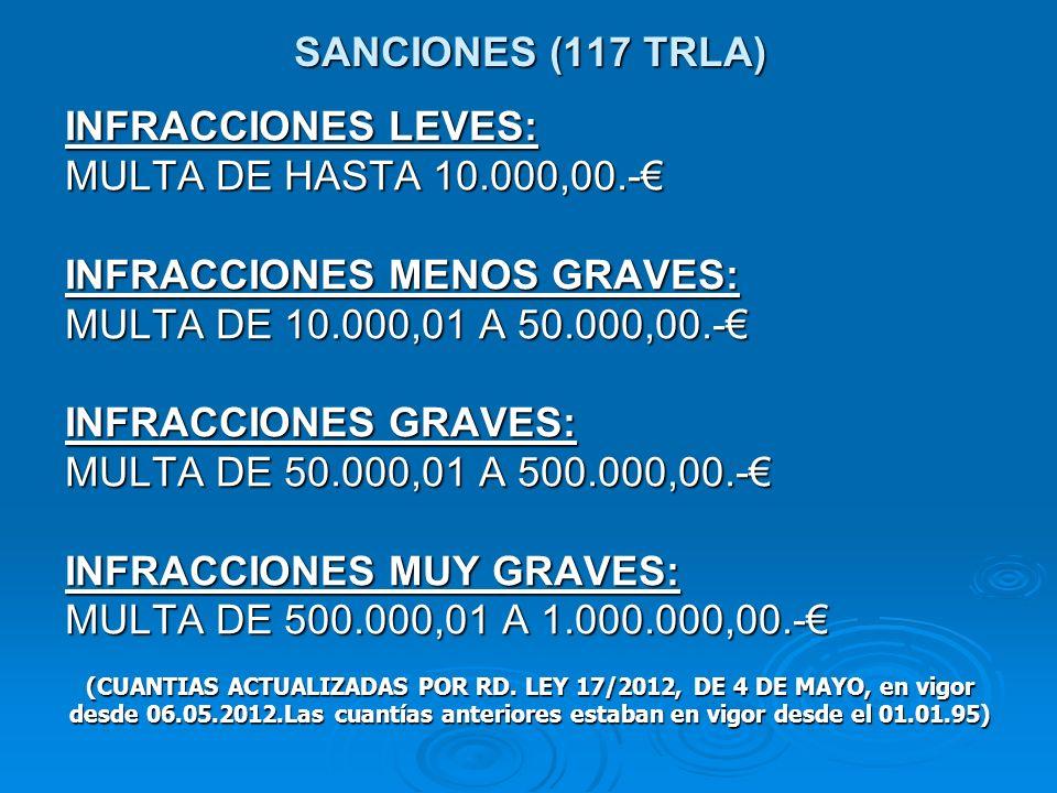 SANCIONES (117 TRLA) INFRACCIONES LEVES: MULTA DE HASTA 10.000,00.- INFRACCIONES MENOS GRAVES: MULTA DE 10.000,01 A 50.000,00.- INFRACCIONES GRAVES: MULTA DE 50.000,01 A 500.000,00.- INFRACCIONES MUY GRAVES: MULTA DE 500.000,01 A 1.000.000,00.- (CUANTIAS ACTUALIZADAS POR RD.