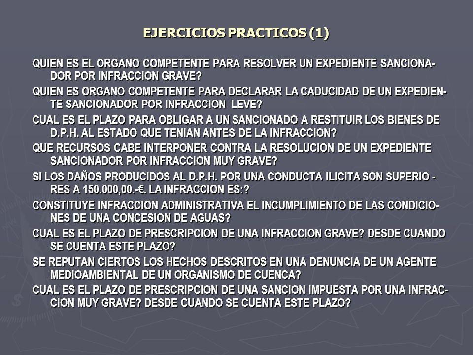 EJERCICIOS PRACTICOS (1) QUIEN ES EL ORGANO COMPETENTE PARA RESOLVER UN EXPEDIENTE SANCIONA- DOR POR INFRACCION GRAVE? QUIEN ES ORGANO COMPETENTE PARA