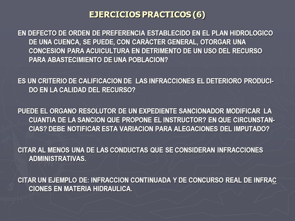 EJERCICIOS PRACTICOS (6) EN DEFECTO DE ORDEN DE PREFERENCIA ESTABLECIDO EN EL PLAN HIDROLOGICO DE UNA CUENCA, SE PUEDE, CON CARÁCTER GENERAL, OTORGAR