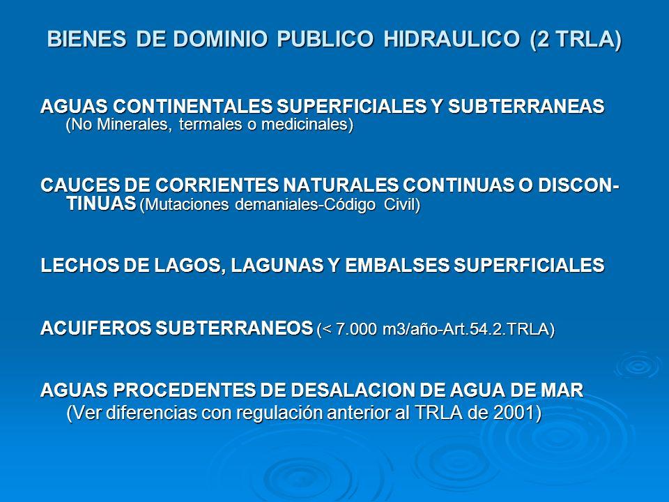 BIENES DE DOMINIO PUBLICO HIDRAULICO (2 TRLA) AGUAS CONTINENTALES SUPERFICIALES Y SUBTERRANEAS (No Minerales, termales o medicinales) CAUCES DE CORRIE