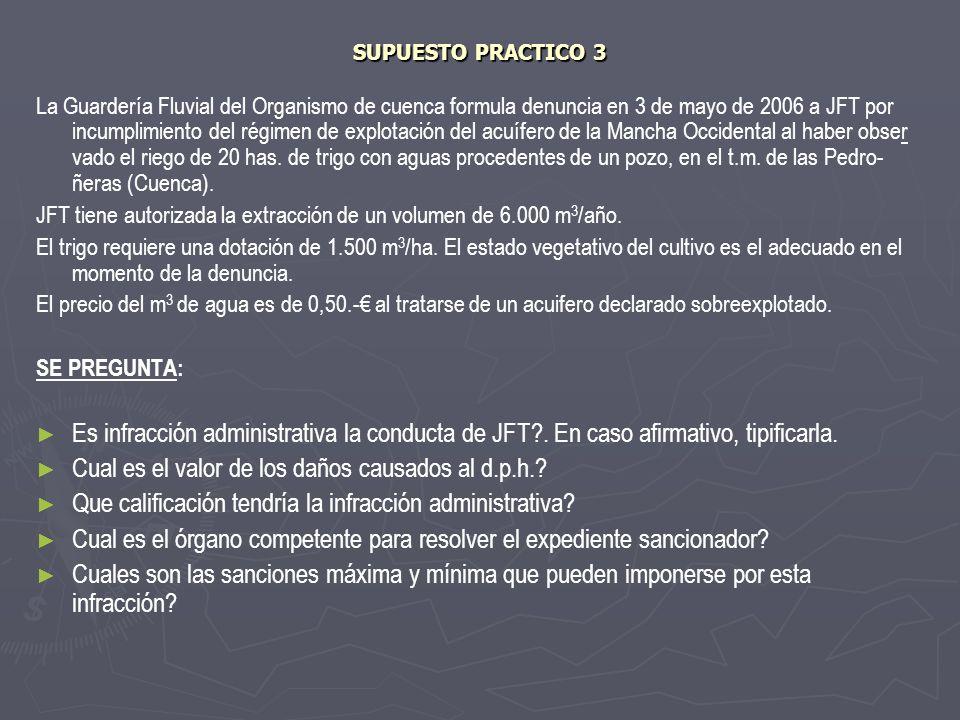 SUPUESTO PRACTICO 3 La Guardería Fluvial del Organismo de cuenca formula denuncia en 3 de mayo de 2006 a JFT por incumplimiento del régimen de explota