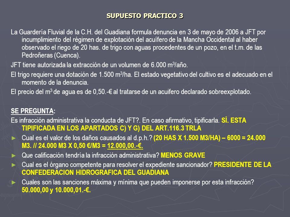 SUPUESTO PRACTICO 3 La Guardería Fluvial de la C.H. del Guadiana formula denuncia en 3 de mayo de 2006 a JFT por incumplimiento del régimen de explota