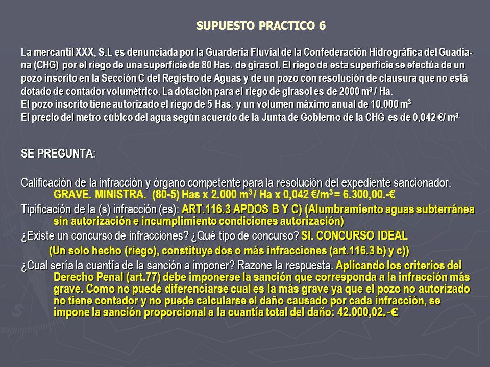SUPUESTO PRACTICO 6 La mercantil XXX, S.L es denunciada por la Guardería Fluvial de la Confederación Hidrográfica del Guadia- na (CHG) por el riego de