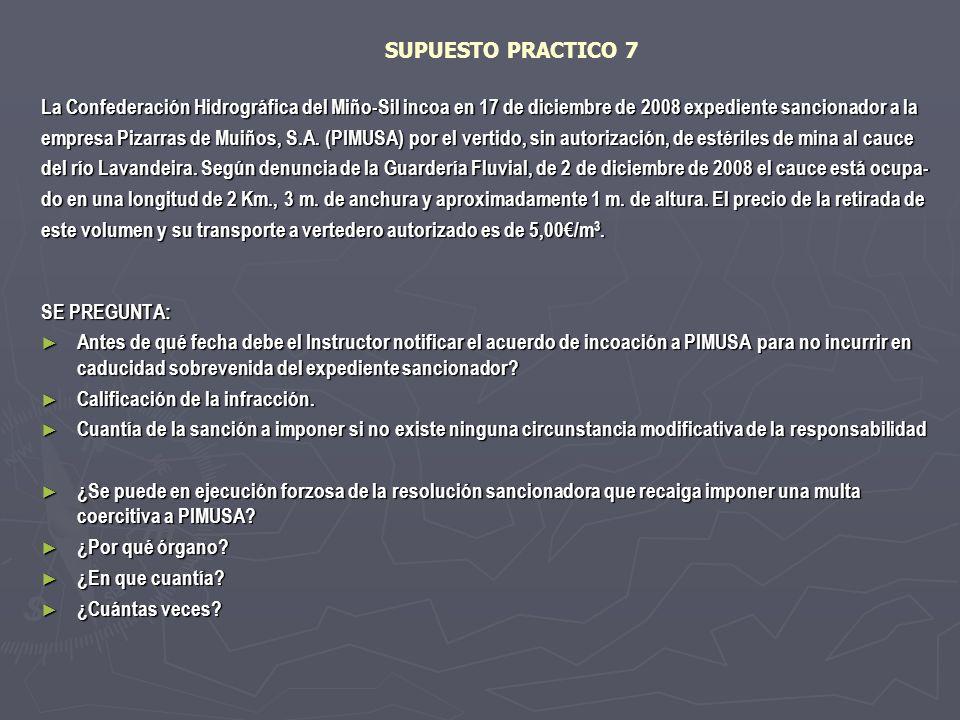 SUPUESTO PRACTICO 7 La Confederación Hidrográfica del Miño-Sil incoa en 17 de diciembre de 2008 expediente sancionador a la empresa Pizarras de Muiños