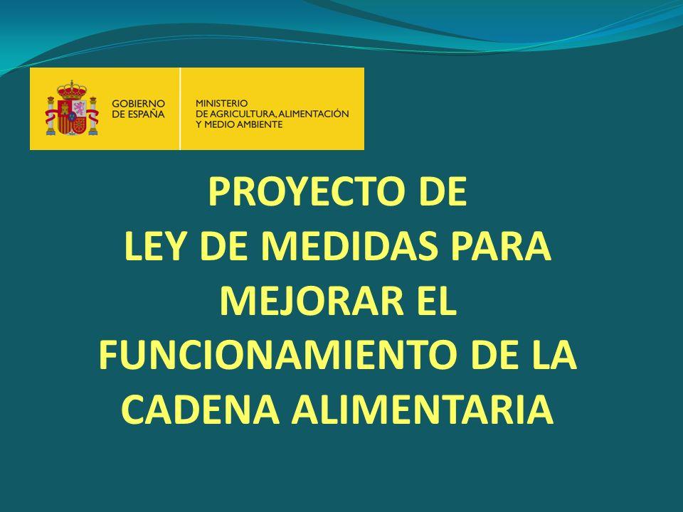 PROYECTO DE LEY DE MEDIDAS PARA MEJORAR EL FUNCIONAMIENTO DE LA CADENA ALIMENTARIA