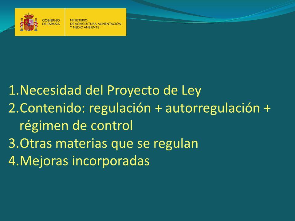 1.Necesidad del Proyecto de Ley 2.Contenido: regulación + autorregulación + régimen de control 3.Otras materias que se regulan 4.Mejoras incorporadas