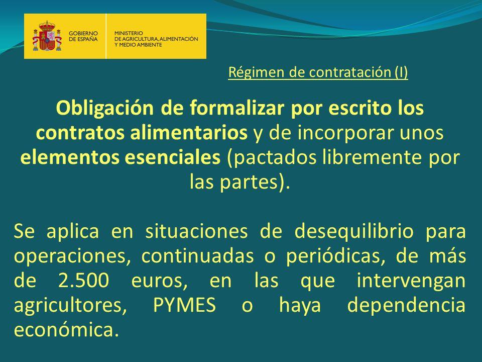Obligación de formalizar por escrito los contratos alimentarios y de incorporar unos elementos esenciales (pactados libremente por las partes).
