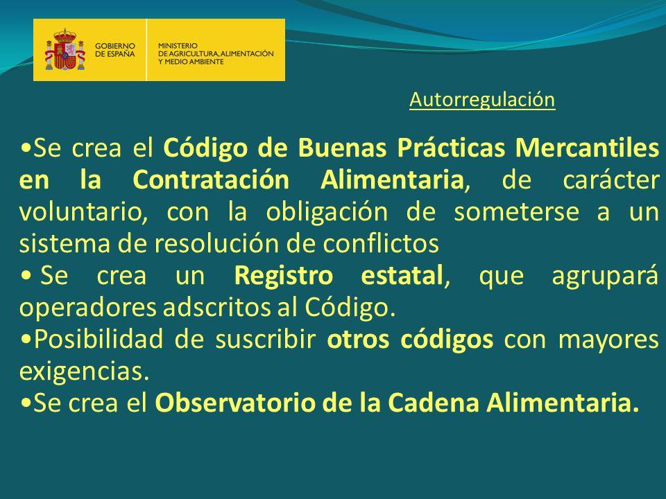 Se crea el Código de Buenas Prácticas Mercantiles en la Contratación Alimentaria, de carácter voluntario, con la obligación de someterse a un sistema de resolución de conflictos Se crea un Registro estatal, que agrupará operadores adscritos al Código.