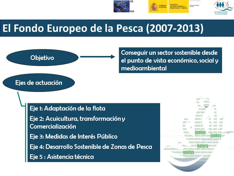El Fondo Europeo de la Pesca (2007-2013) Objetivo Conseguir un sector sostenible desde el punto de vista económico, social y medioambiental Ejes de actuación Eje 1: Adaptación de la flota Eje 2: Acuicultura, transformación y Comercialización Eje 3: Medidas de Interés Público Eje 4: Desarrollo Sostenible de Zonas de Pesca Eje 5 : Asistencia técnica