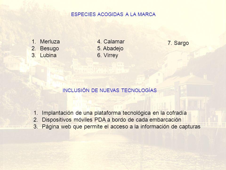 Barco ESPECIES ACOGIDAS A LA MARCA 1.Merluza 2.Besugo 3.Lubina INCLUSIÓN DE NUEVAS TECNOLOGÍAS 1.Implantación de una plataforma tecnológica en la cofr