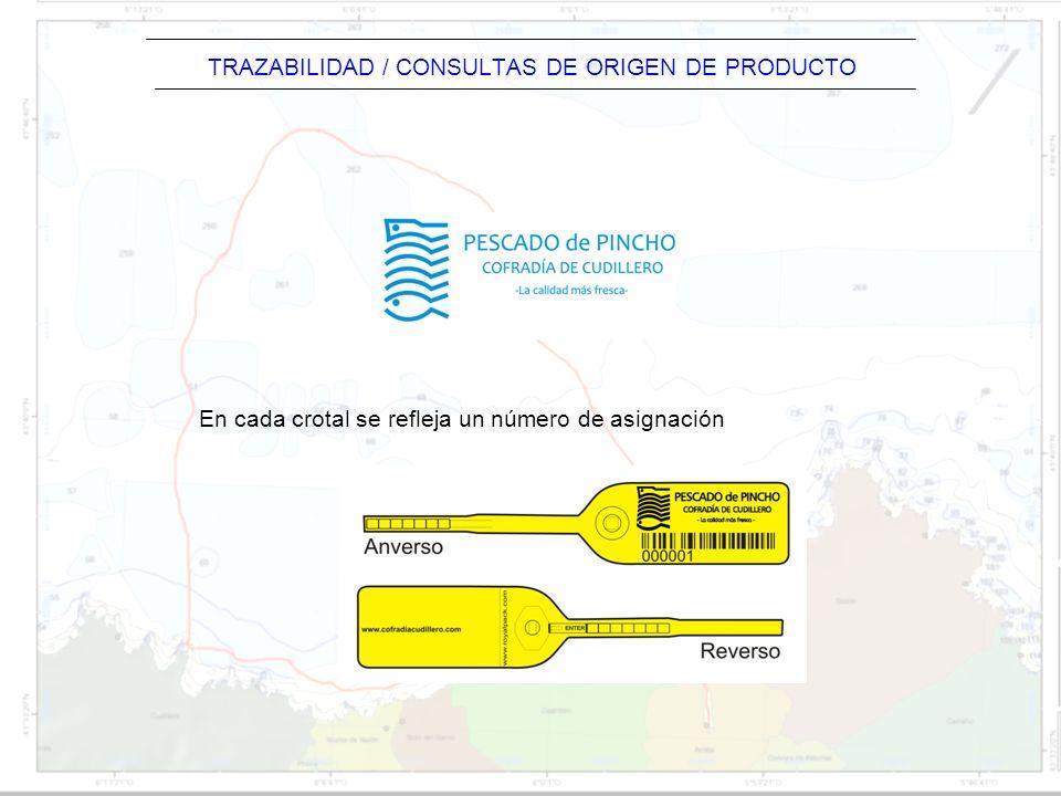 TRAZABILIDAD / CONSULTAS DE ORIGEN DE PRODUCTO En cada crotal se refleja un número de asignación