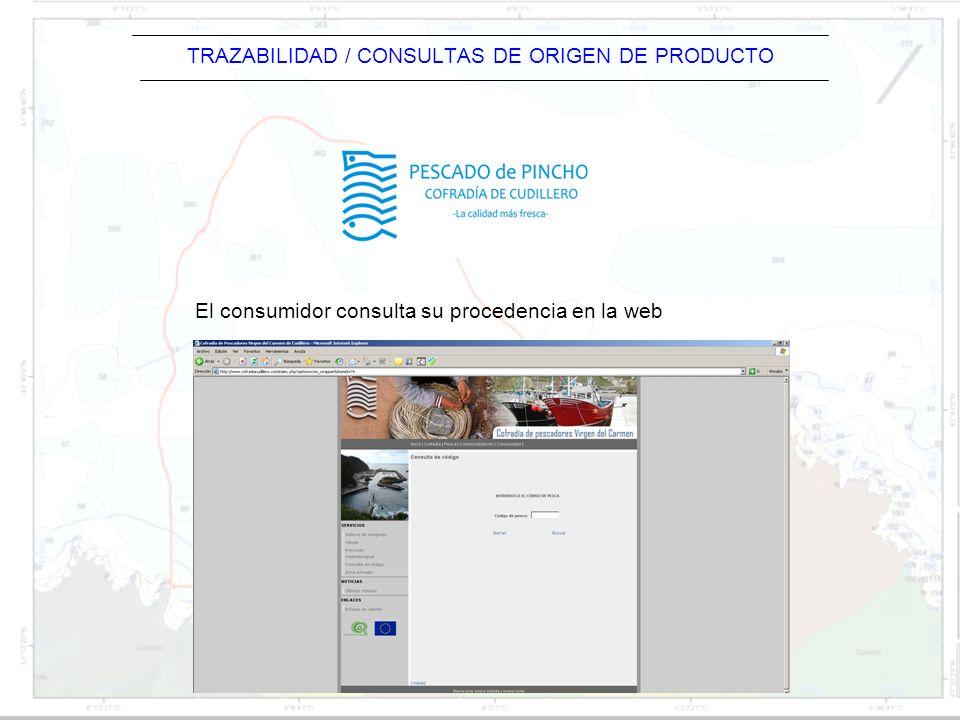 TRAZABILIDAD / CONSULTAS DE ORIGEN DE PRODUCTO El consumidor consulta su procedencia en la web