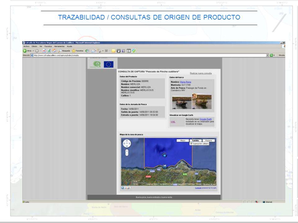 TRAZABILIDAD / CONSULTAS DE ORIGEN DE PRODUCTO