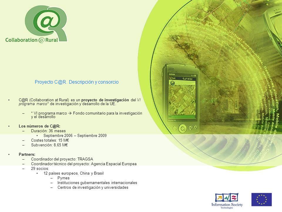 Proyecto C@R. Descripción y consorcio C@R (Collaboration at Rural) es un proyecto de investigación del VI programa marco* de investigación y desarroll