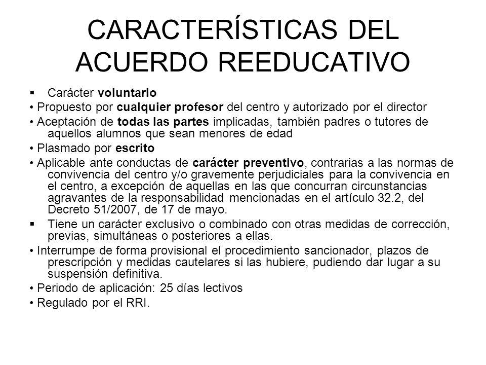 CARACTERÍSTICAS DEL ACUERDO REEDUCATIVO Carácter voluntario Propuesto por cualquier profesor del centro y autorizado por el director Aceptación de tod