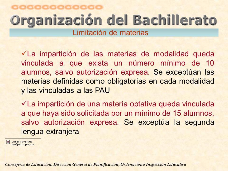 Consejería de Educación. Dirección General de Planificación, Ordenación e Inspección Educativa La impartición de las materias de modalidad queda vincu