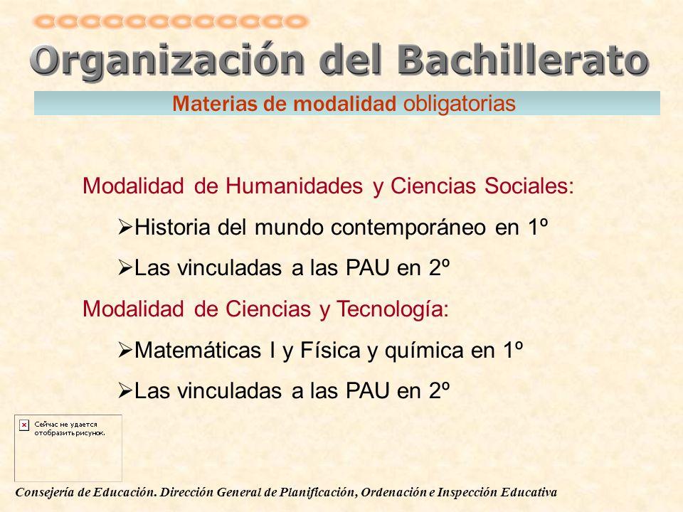 Consejería de Educación. Dirección General de Planificación, Ordenación e Inspección Educativa Modalidad de Humanidades y Ciencias Sociales: Historia