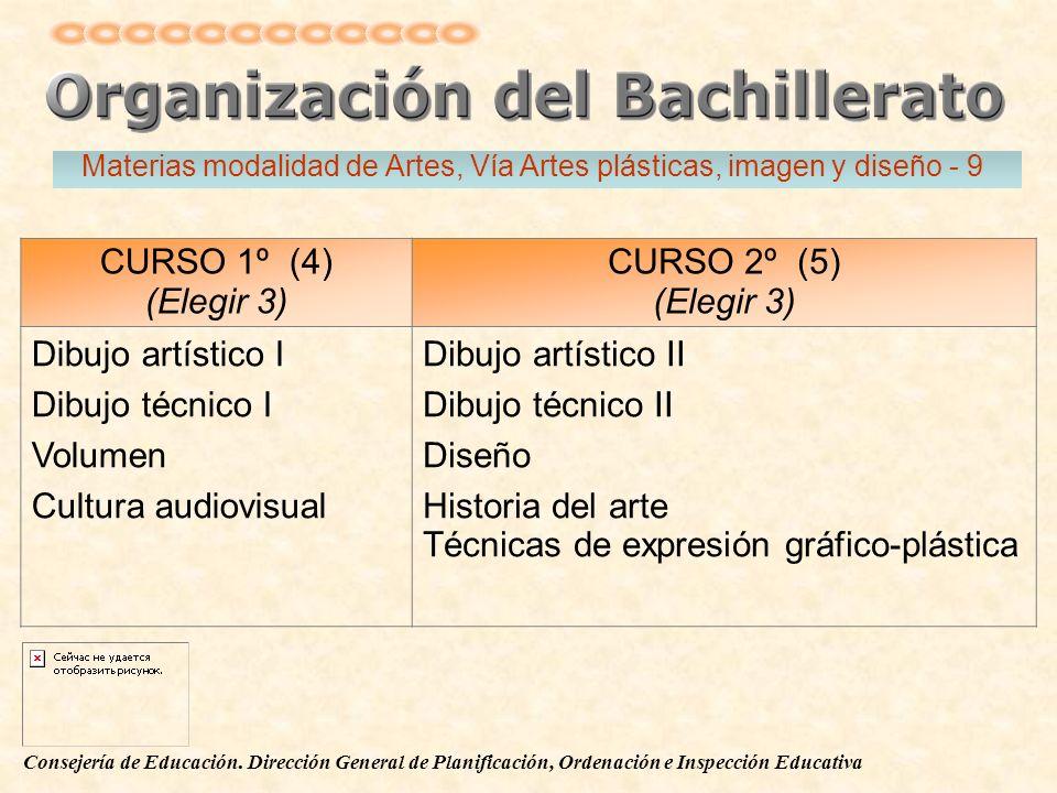 Consejería de Educación. Dirección General de Planificación, Ordenación e Inspección Educativa CURSO 1º (4) (Elegir 3) CURSO 2º (5) (Elegir 3) Dibujo
