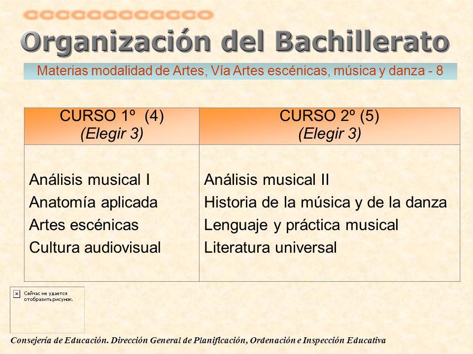 Consejería de Educación. Dirección General de Planificación, Ordenación e Inspección Educativa CURSO 1º (4) (Elegir 3) CURSO 2º (5) (Elegir 3) Análisi