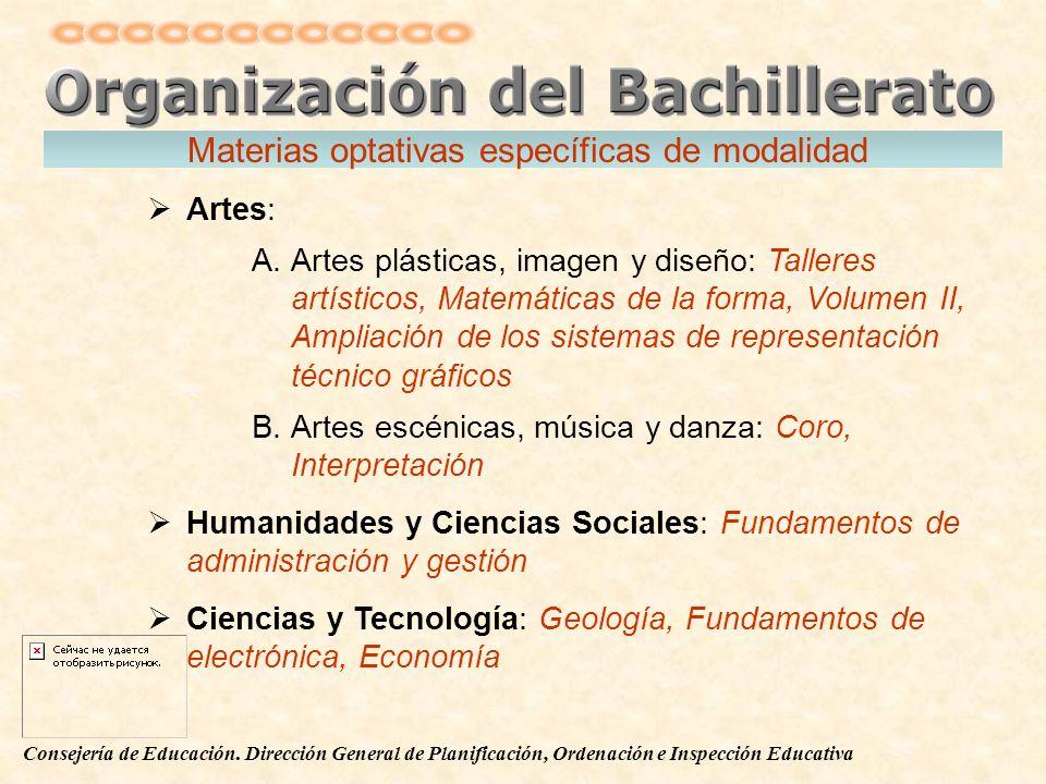 Consejería de Educación. Dirección General de Planificación, Ordenación e Inspección Educativa Materias optativas específicas de modalidad Artes: A.Ar