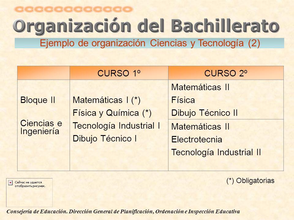 Consejería de Educación. Dirección General de Planificación, Ordenación e Inspección Educativa CURSO 1ºCURSO 2º Bloque II Ciencias e Ingeniería Matemá