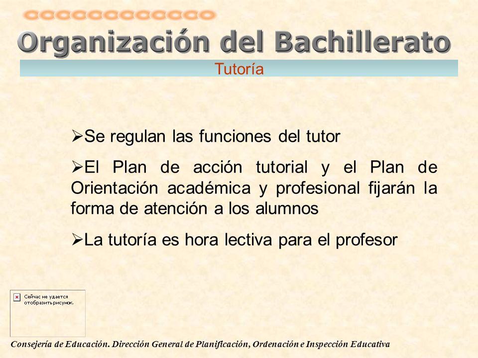 Consejería de Educación. Dirección General de Planificación, Ordenación e Inspección Educativa Se regulan las funciones del tutor El Plan de acción tu