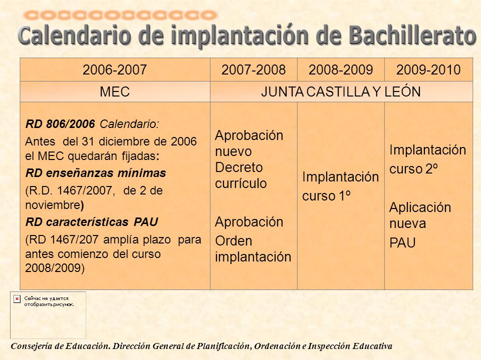 2006-20072007-20082008-20092009-2010 MECJUNTA CASTILLA Y LEÓN RD 806/2006 Calendario: Antes del 31 diciembre de 2006 el MEC quedarán fijadas: RD enseñ