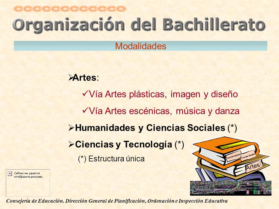 Consejería de Educación. Dirección General de Planificación, Ordenación e Inspección Educativa Modalidades Artes: Vía Artes plásticas, imagen y diseño
