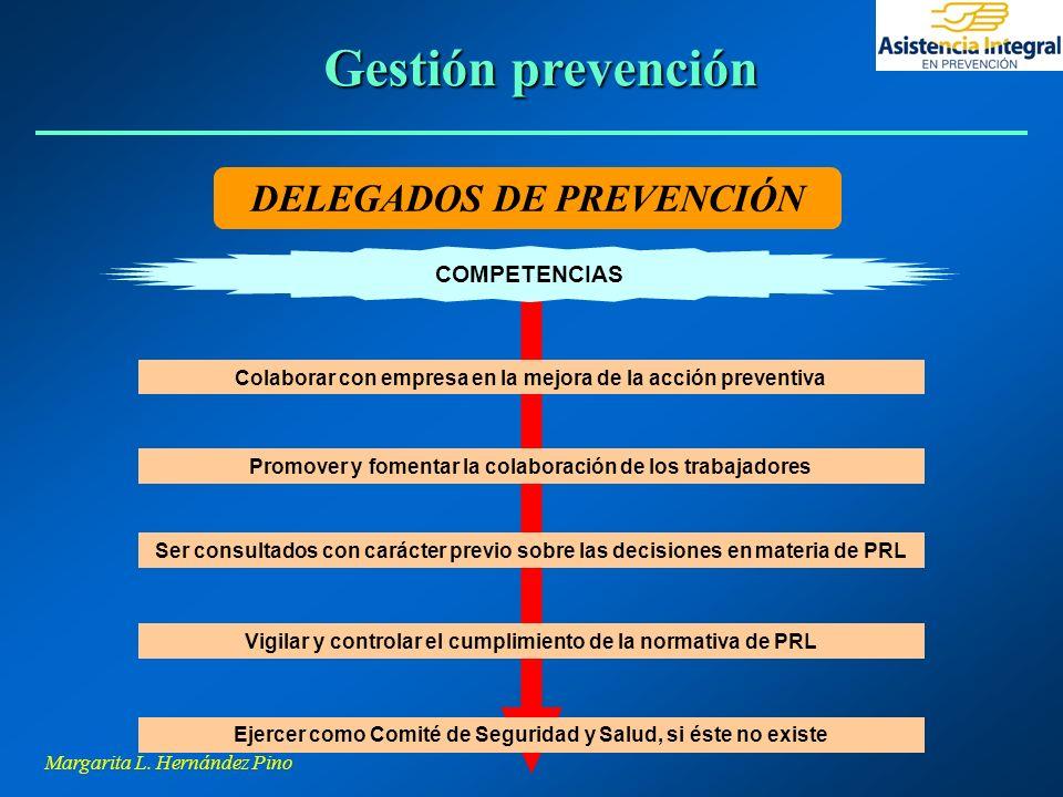 Margarita L. Hernández Pino DELEGADOS DE PREVENCIÓN Colaborar con empresa en la mejora de la acción preventiva Promover y fomentar la colaboración de