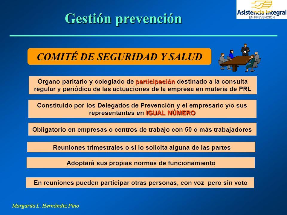 Margarita L. Hernández Pino COMITÉ DE SEGURIDAD Y SALUD participación Órgano paritario y colegiado de participación destinado a la consulta regular y