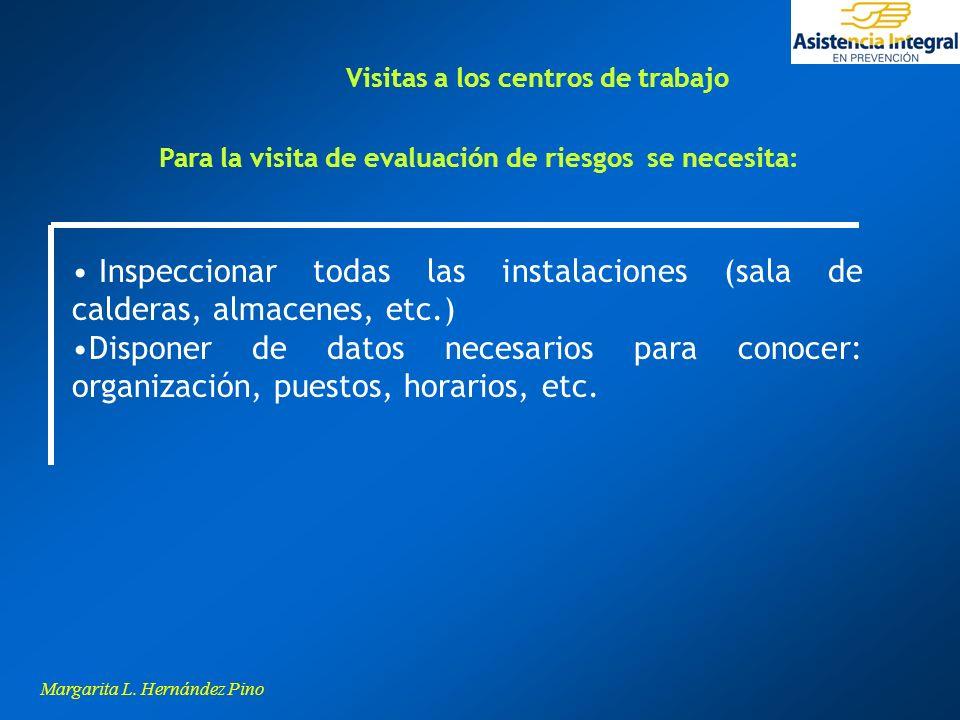 Margarita L. Hernández Pino Inspeccionar todas las instalaciones (sala de calderas, almacenes, etc.) Disponer de datos necesarios para conocer: organi