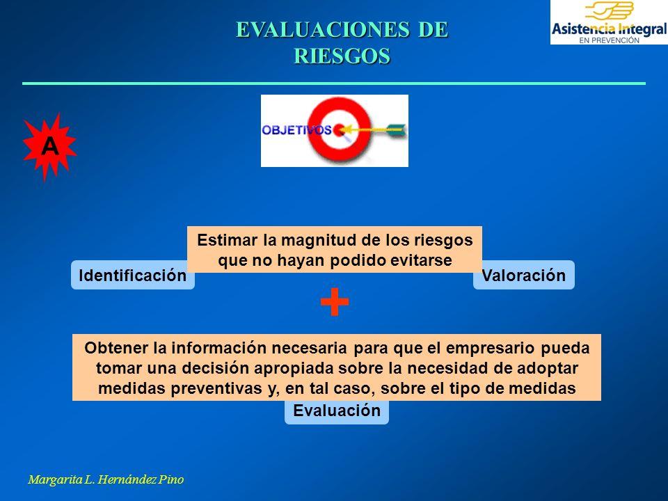 Margarita L. Hernández Pino EVALUACIONES DE RIESGOS ValoraciónIdentificación Estimar la magnitud de los riesgos que no hayan podido evitarse + Evaluac