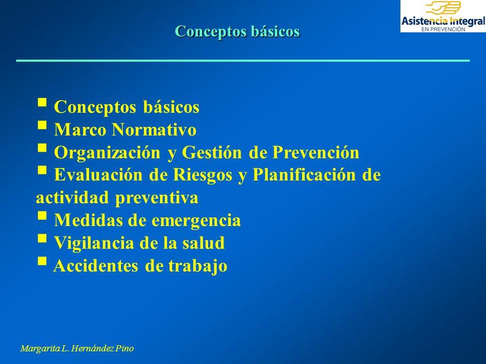 Margarita L. Hernández Pino Conceptos básicos Marco Normativo Organización y Gestión de Prevención Evaluación de Riesgos y Planificación de actividad