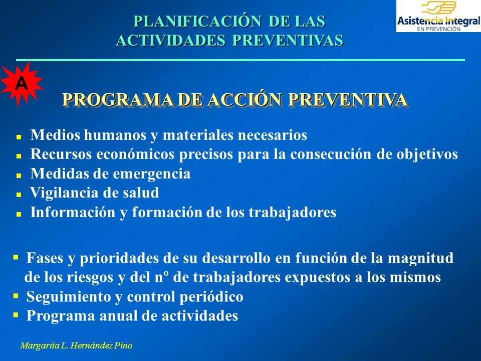 Margarita L. Hernández Pino PLANIFICACIÓN DE LAS ACTIVIDADES PREVENTIVAS PROGRAMA DE ACCIÓN PREVENTIVA n Medios humanos y materiales necesarios n Recu