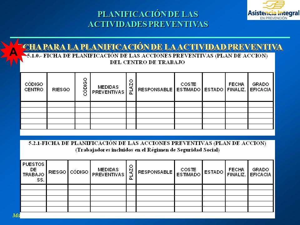 Margarita L. Hernández Pino PLANIFICACIÓN DE LAS ACTIVIDADES PREVENTIVAS FICHA PARA LA PLANIFICACIÓN DE LA ACTIVIDAD PREVENTIVA A