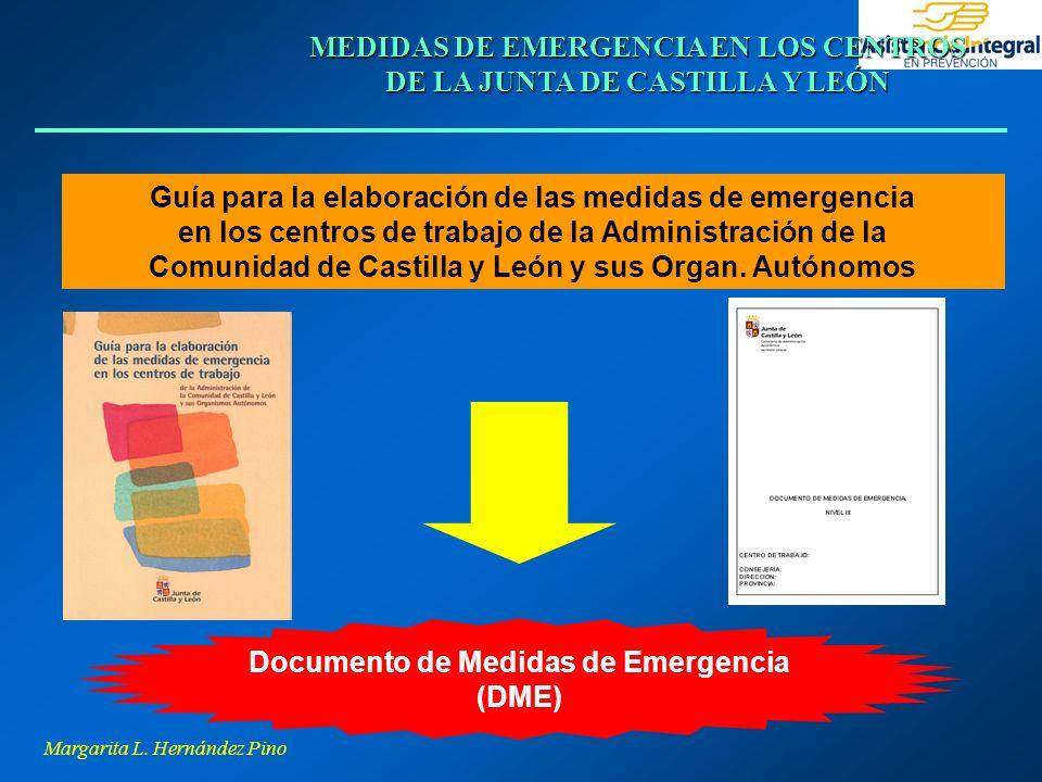 Margarita L. Hernández Pino MEDIDAS DE EMERGENCIA EN LOS CENTROS DE LA JUNTA DE CASTILLA Y LEÓN Guía para la elaboración de las medidas de emergencia