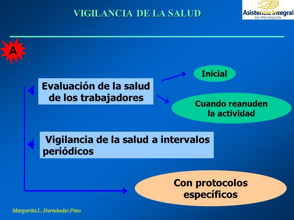 Margarita L. Hernández Pino VIGILANCIA DE LA SALUD Vigilancia de la salud a intervalos periódicos Evaluación de la salud de los trabajadores Con proto